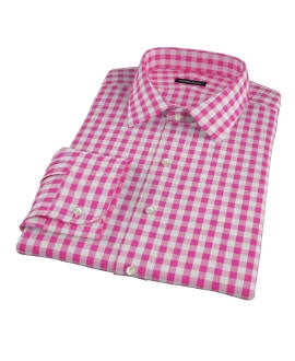 Pink Large Gingham Custom Made Shirt 