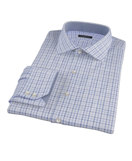 Blue and Light Blue Tattersall Fitted Dress Shirt