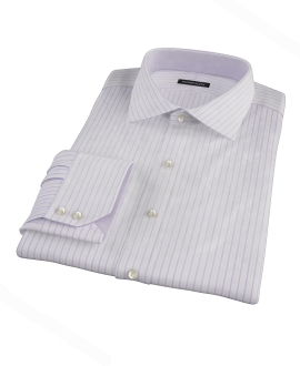 Albini Lavender Satin Stripe Fitted Shirt