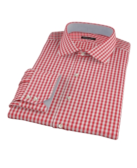 Union Red Gingham Fitted Dress Shirt