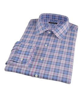 Red and Blue Plaid Men's Dress Shirt 