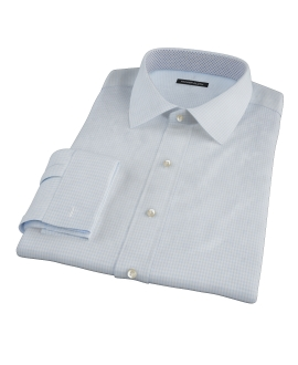 100s Pale Blue Mini Gingham Fitted Dress Shirt 