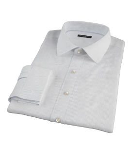 140s Light Blue Wrinkle Resistant Fine Stripe Custom Dress Shirt