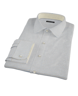 Coffee & Blue Check Custom Dress Shirt
