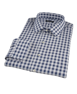Navy Blue Large Gingham Dress Shirt