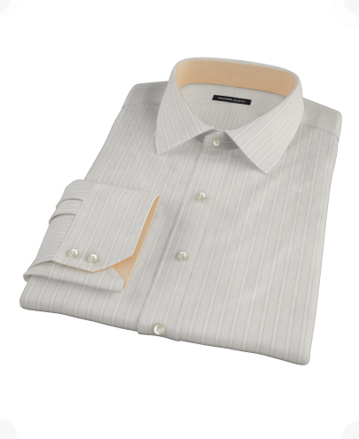 Tan Stripes Custom Dress Shirt