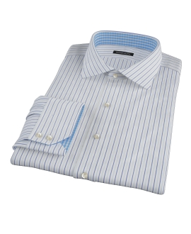 Chambers Wrinkle-Resistant Navy Light Blue Stripe Custom Dress Shirt