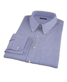 Small Blue 100s Gingham Fitted Dress Shirt