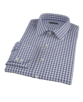 Navy Gingham Fitted Dress Shirt