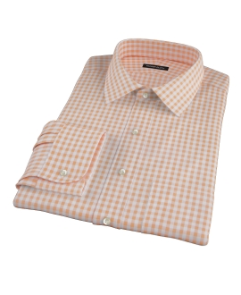 Medium Light Orange Gingham Fitted Dress Shirt