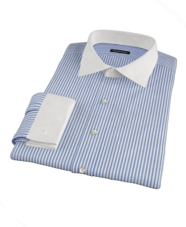 Blue Wrinkle Resistant Bordered Stripe Custom Made Shirt