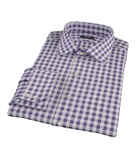 Eggplant Large Gingham Men's Dress Shirt