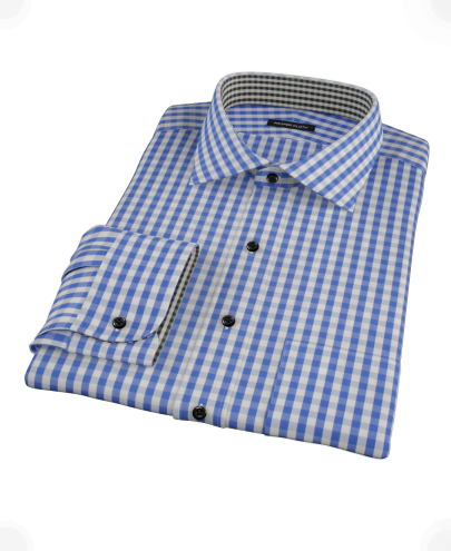 Classic Blue Gingham Fitted Dress Shirt