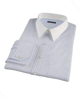 Light Blue and Black Multi-Stripe Men's Dress Shirt