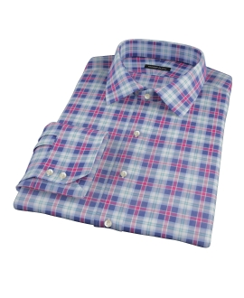 Blue Red and Green Plaid Men's Dress Shirt