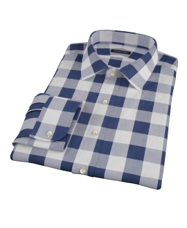 Extra Large Navy Gingham Fitted Dress Shirt