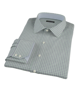 Green and Blue Mini Gingham Custom Dress Shirt