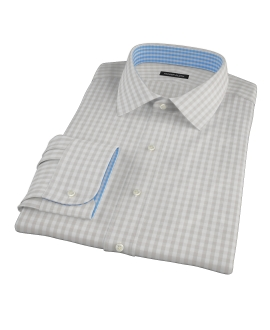 Pale Gray Gingham Men's Dress Shirt