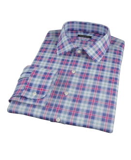 Blue Red and Green Plaid Fitted Dress Shirt