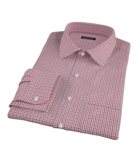 Red and Navy Mini Gingham Custom Dress Shirt