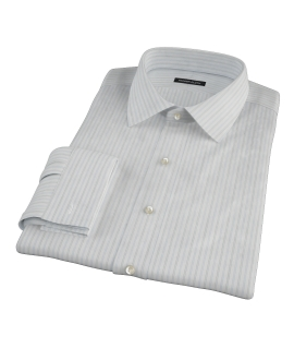 Light Blue Gray Dobby Stripe Dress Shirt