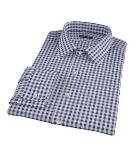 Navy Gingham Fitted Shirt