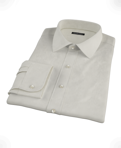 Ivory Pinpoint Fitted Dress Shirt