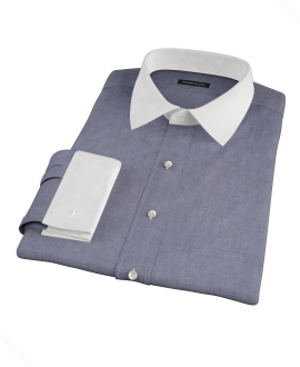 Indigo Chambray-Cotton Men's Dress Shirt