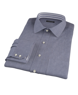 Indigo Chambray-Cotton Fitted Dress Shirt
