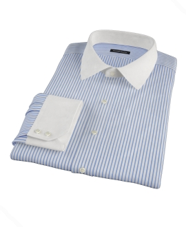 Greenwich Blue Bordered Stripe Fitted Shirt
