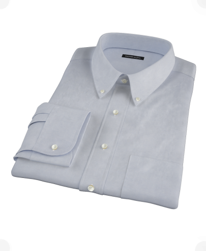 French Blue Heavy Oxford Cloth Men's Dress Shirt
