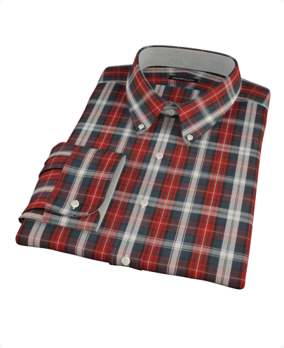Navy Maroon Large Plaid Custom Dress Shirt