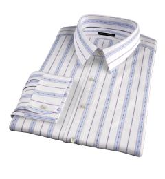 Albini Blue Folk Stripe Men's Dress Shirt
