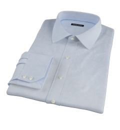 Thomas Mason Light Blue Mini Houndstooth Fitted Dress Shirt