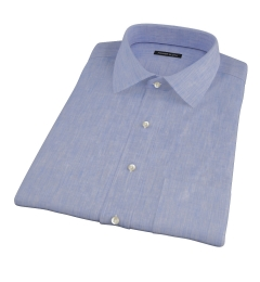 Light Blue Linen-Effect Short Sleeve Shirt
