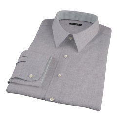 Canclini Grey Herringbone Flannel Men's Dress Shirt