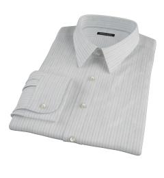 Light Blue Grey Dobby Stripe Men's Dress Shirt
