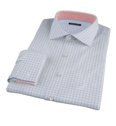 Thomas Mason Light Blue Grid Custom Made Shirt