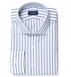 Canclini Slate Blue Wide Stripe Men's Dress Shirt
