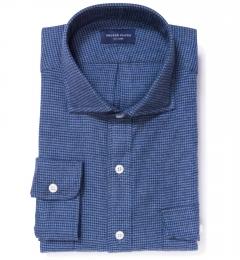 Canclini Blue Houndstooth Flannel Custom Dress Shirt