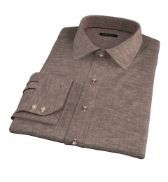 Canclini Brown Linen Dress Shirt