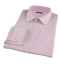 Canclini Red Cotton Linen Stripe Fitted Dress Shirt