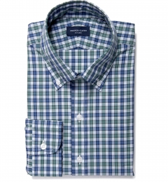 Vincent Sage and Indigo Plaid Fitted Dress Shirt