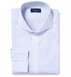 Mercer Blue Medium Grid Custom Dress Shirt