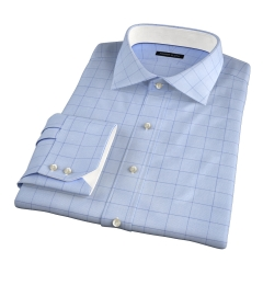 Thomas Mason Blue and Blue Prince of Wales Check Fitted Dress Shirt