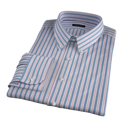 Albini Blue and Red Summer Stripe Fitted Dress Shirt