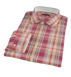 Canclini 120s Red Yellow Madras Dress Shirt