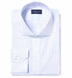 Canclini 120s Sky Blue Large Grid Custom Dress Shirt