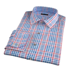 Canclini Orange Blue Plaid Linen Fitted Shirt