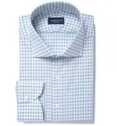 Thomas Mason Green and Lavender Multi Check Custom Made Shirt